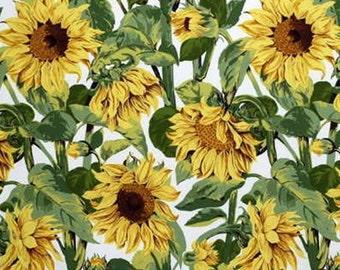 LEE JOFA KRAVET Sunflowers Galore Cotton Fabric 10 Yards White Green Yellow Brown