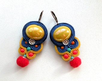 earrings-soutache-Pom Pom-Frida-Dangle soutache earrings