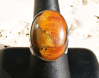 MARRA MAMBA Tiger Eye RING, Beautiful Earthy tones, Size 9, Sterling Silver