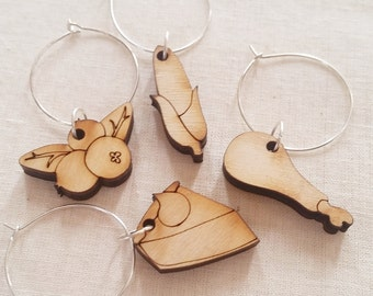 Thanksgiving Wooden Wine Charms, Set of 4
