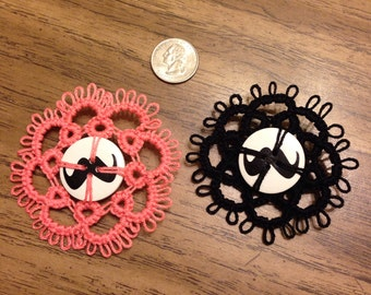Mustache Love Button Brooch with Tatting