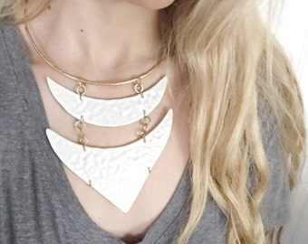 Brass Porcelain Hammered Necklace in White Elegant Minimal Statement Jewelry FREE Shipping to USA