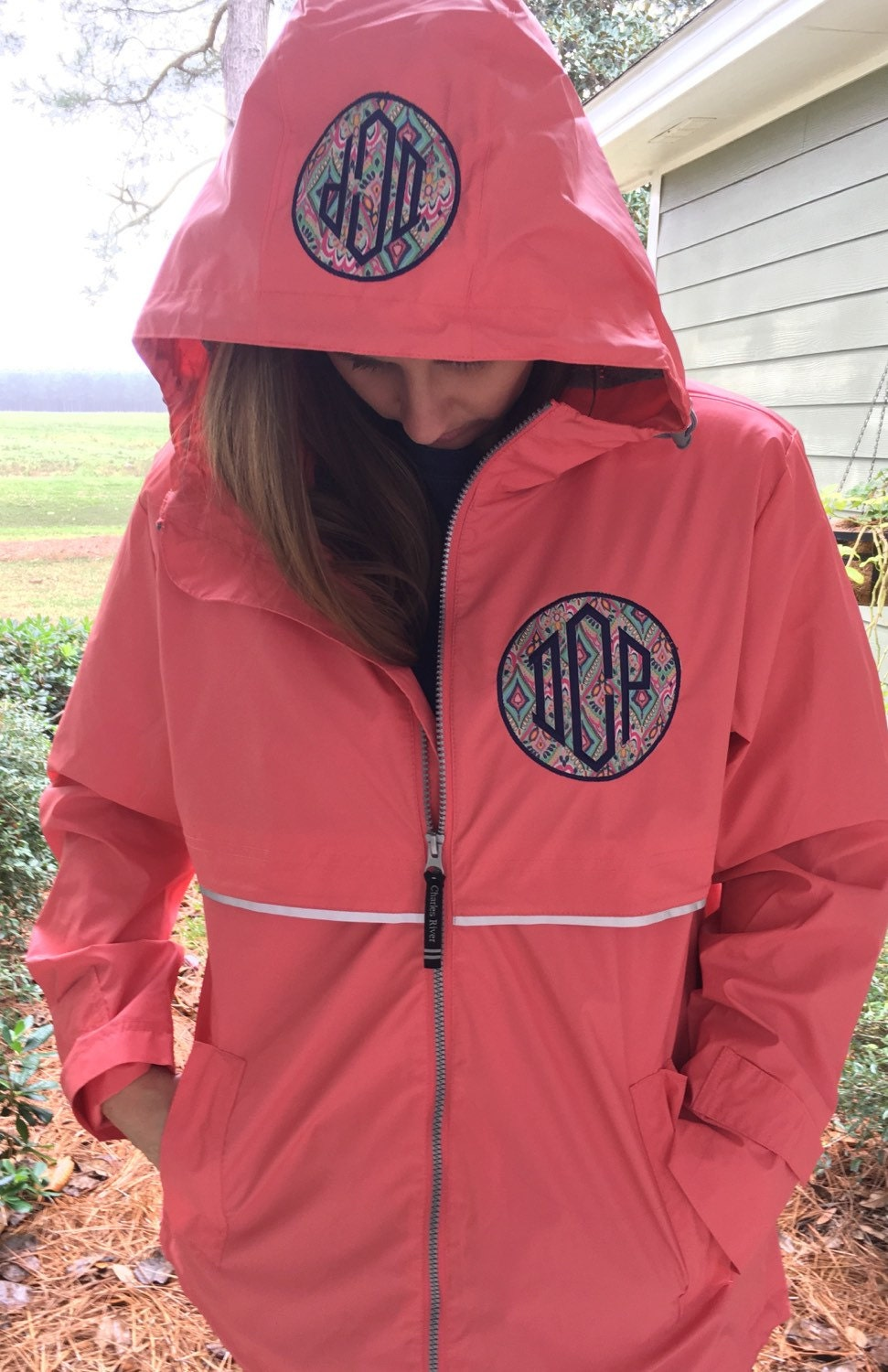 monogrammed rain coat jacket womens personalized coral