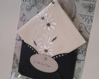 Vintage Embroidered Handkerchief Silver Grey Friend Birthday Wedding Graduation Friendship Thinking Of You French Hanky Keepsake Card