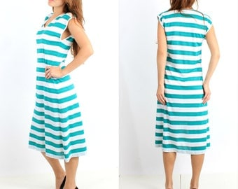 Vintage Blue White Striped Dress Rene Made in Italy