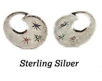 Sterling Silver Clip on earrings swirl with Rhinestone stars
