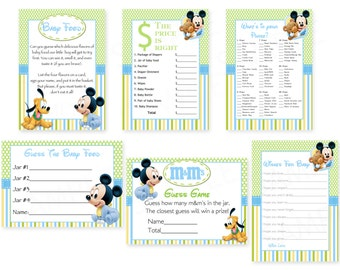 Baby Shower Games -Disney Baby Mickey Mouse Inspired Baby Shower Theme- Printable Cards