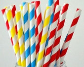 Yellow Red Blue Superman Paper Straws Super Hero Party Supply  Party Supply 7.75 inches - Pack of 25