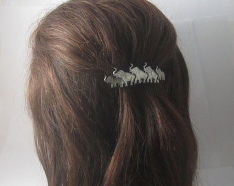 Elephant French Barrette 70mm- Hair Accessories- Small Barrette- French Clips- Silver Barrette