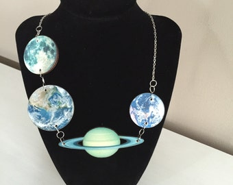 Planet and Moon Necklace
