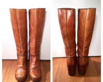 Size 9 Brown Leather Tall Boots Stacked Heel Campus Boots Knee High Leather Boots 1970s Brown Leather Western Boots