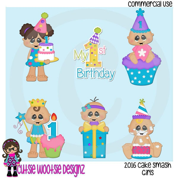 Smashed Cake Clipart : 2016 Cake Smash Girls Clip art Clipart by CutsieWootsieDesignz