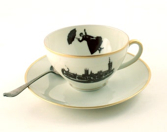 Redesigned  Mary Poppins Cup and Saucer Nanny Tea or Coffee Porcelain Vintage Musical Film Big Ben London Enland Sugarwhite Brown Romantic