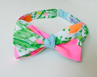 "Lilly Pulitzer ""Pink Lemonade"" Fabric Bow Tie"