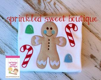 Boys Christmas Cookies Gingerbread Man Shirt Custom Applique Made to Match m2m Eleanor Rose Christmas Cookies Gingerbread Dress