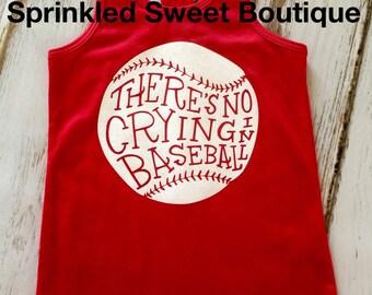Glitter No Crying in Baseball Tank Top Custom Baseball Shirt Girls Womens Custom Matching Moms shirts
