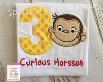 Curious George Birthday Applique Monogram Custom Shirt Boys Girls Perfect for any George Monkey Fan First Birthday Any Number Man Yellow Hat