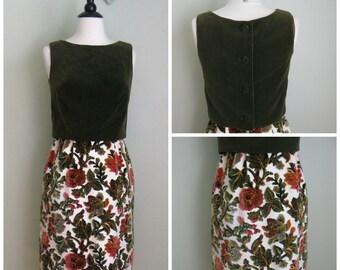 1960's Green Floral Dress and Tank// Velvet Moss//