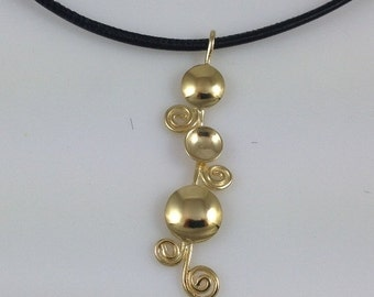 25% OFF SALE Gold pendant necklace, Spiral pendant, Leather necklace cord, Gold necklace, Gold spirals, Gold and black