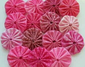 yo yos 30 2 inch assorted  shades of Pink fabric