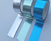 Set of 3 foil masking tapes / green, blue and silver