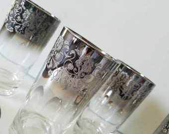 Silver Ombre Embossed Tumbler & Coaster Cocktail Set