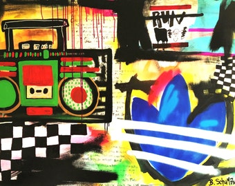 """Origin of Hip-Hop Original Painting by B. Schuman 36""""x48"""" Abstract Urban Expressionism Signed"""