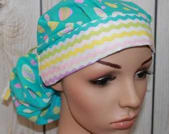 Ponytail Surgical Scrub Hat, Easter Egg with Chevron Band