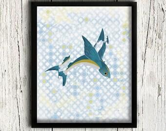 Fish Art, Fish Print, Nautical Wall Decor, Bathroom Decor, Blue Art Print, Bathroom Wall Art, Vintage Pattern/ 8x10in