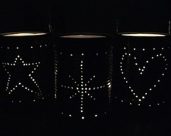 Upcycled Tin Can Lanterns Table Decoration