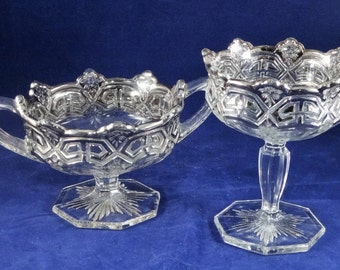 Glass and Silver Trim Pedestal Compotes, Elegant Silver Trim Compotes, Elegant Dishes, Compote Set