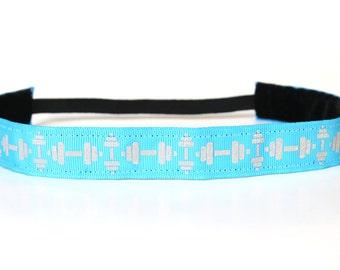Glitter Dumbbell Nonslip Headband, Fitness Gift, CrossFit Accessory, Workout Headband, Gym Gear, Gift Under 10, Sparkle Headband
