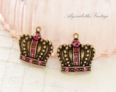 Antiqued Brass Crown Swarovski Rose Pink Rhinestone Charm Pendant Dangle French Chic  - 2