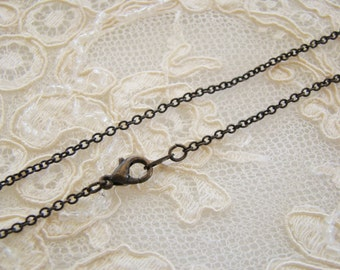 Finished 16 Inch Antiqued Brass Patina Fine Cable Chain Necklace with Lobster Clasp - 2