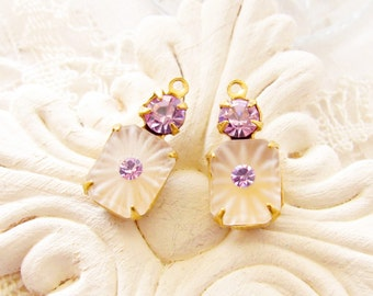 Vintage Matte Camphor Glass Octagon and Violet Amethyst Rhinestone Drops Brass Prong Settings Dangles Charms - 2