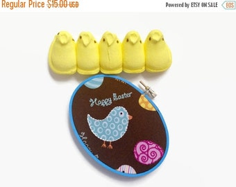 SHOP CLOSING SALE - Easter Embroidery Hoop - Happy Easter! Chicks & Easter Eggs / Hand Embroirdered Cute Holiday Decor - for Kids, Children,
