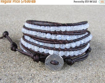 SPRING SALE moonstone and sterling silver beaded leather wrap bracelet rainbow white stone leather multi five strand