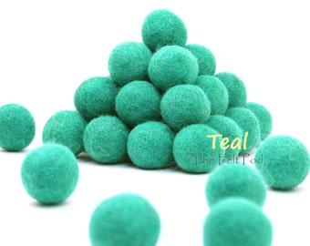 Wool Felt Balls // Felt Ball Garland DIY // DIY Mobile // diy Necklace // Poms // Wool Beads // TEAL // 1 cm 1.5 cm 2 cm 2.5 cm 3 cm 4 cm