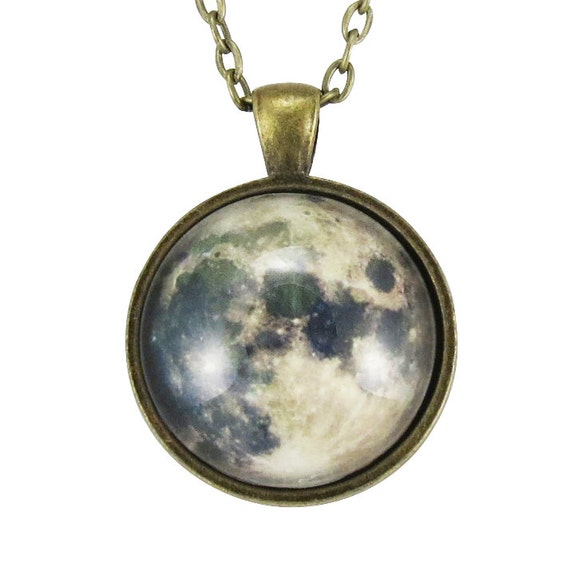 Full Moon Necklace, Space Art Pendant, Galaxy Jewelry (0439B1IN)