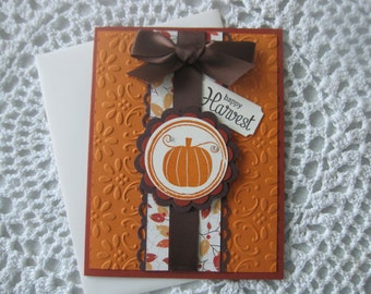 Handmade Greeting Card: Happy  Harvest (All Occasion/Fall Themed)