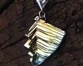 Bismuth Crystal beneath a Sterling Silver Bail, Crystal Pendant from Bismuth Geode on Leather or Snake Chain Necklace