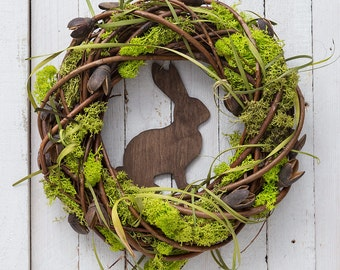 Easter wreath - spring wreath - rustic Easter wreath - spring decorations - moss wreath - door wreaths - Easter door decor - Easter decor