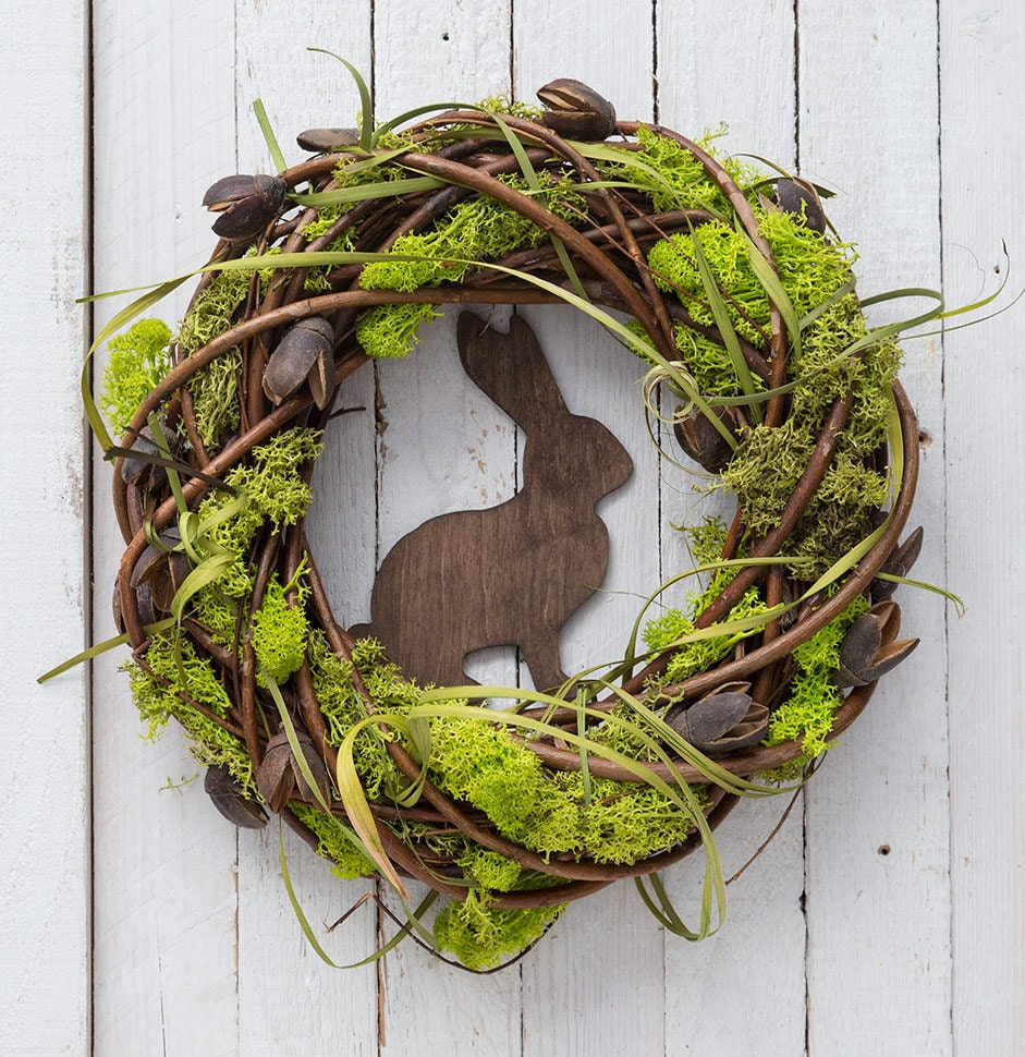 Outdoor Spring Decor: Easter Wreath With Rabbit Spring Decorations Moss Wreath