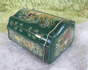 Ornate Avon Christmas Canister Tin Near Mint Christmas gift decor Avon Exclusive