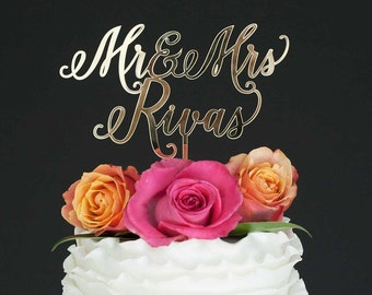 Wedding Cake Topper, Mr & Mrs Custom Cake Topper, Gold Wedding Cake Topper, Personalized Cake Topper