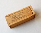 Vintage wooden slide top box Small pine box SW Cardman Mass USA Dovetail joints Storage box Mini storage box Miniature wood box Sliding lid