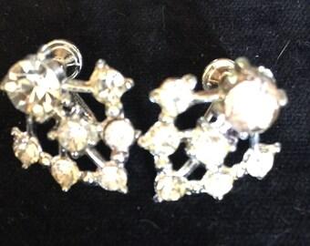 Vintage Rhinestone Screwback Earings
