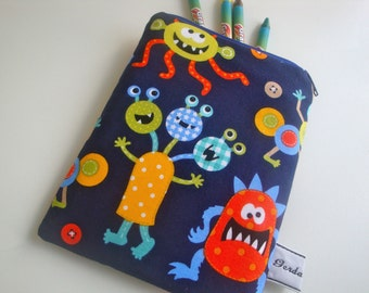 Kids cotton Crayons Case - handmade - gift - small crayons case -  children's crayons case - wipe clean lining - monster fabric