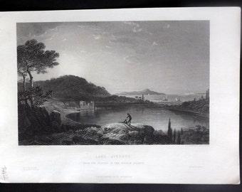 After Wilson C1860 Art Journal Print. Lake Avernus, Italy