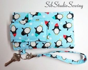"Penguins Smartphone Wristlet, Fits iPhone 6, SE,7  Smartphones up to 5.75"" x 3.5"", Cell Phone Pouch, Key Ring, Pocket, Penguins Phone Clutch"